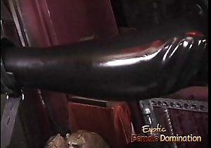 Two latex-clad harlots spank a ginger bitch up ahead having some fun yourselves