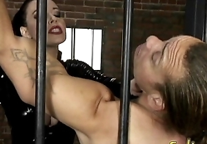 Stunning raven-haired dominatrix Anastasia Pierce enjoys having kinky fun in the matter of her slave
