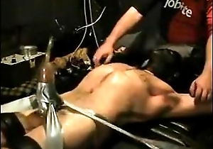 Bound Tickled Vac-Pumped Jock Wearing Head Gear (BDSM)
