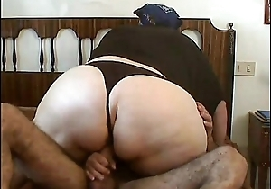Homemade video of a mature fat unsubtle in mask banged by younger