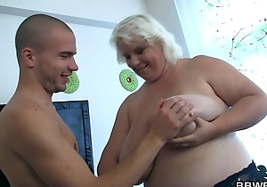 He calls huge boobs blonde for doggy-banging