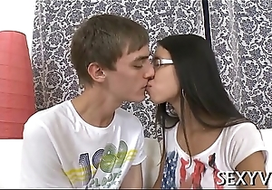 Mouth and pussy of a legal time teenager gangbanged