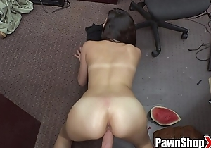 Whore in shorts visits my pawn shop and gets big dick in her twat xp15248