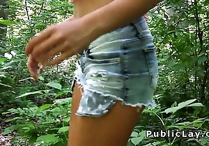 Hottie show boobs and charge from outdoor pov