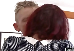 Sexy redhead shemale gets her asshole rammed on the bed