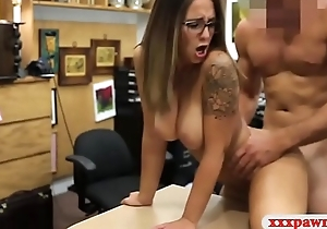 Hot amateur woman with glasses acquires railed by pawn guy
