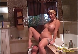 Hot blonde wench pleasures her twat and drills her man&rsquo_s ass