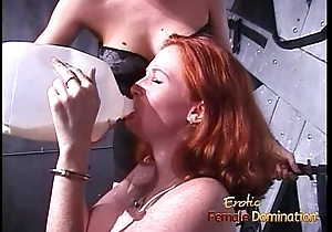 Freckled ginger slut enjoys getting pledged by her kinky domina