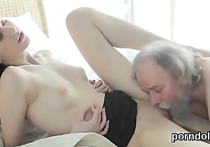 Sensual schoolgirl is tempted coupled with drilled by her aged teacher
