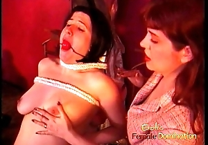 Super raven-haired termagant enjoys letting a redhead slag spank her hard