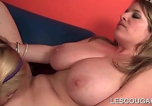 Teen Lesbian licks a horny cougars untidy cunt