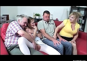 Aged And Young Foursome With Hot Granny