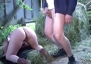 German Milf Mom coupled with Cur' Fuck Outdoor on farm