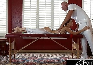 Dirty Masseur Pays Jenni Lee Have a word with Massage Table, Oils and Cock