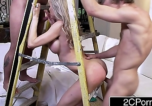 Busty Wife Brandi Reverence Sucking and Fucking Two Construction Contractors