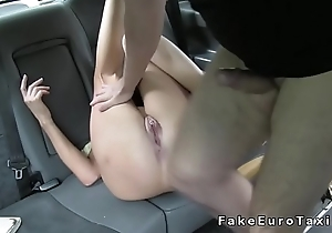 Nasty amateur fucks on a cabs bonnet in woods