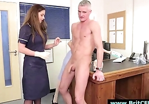Naughty CFNM British nurses sucking serendipitous guy'_s cock