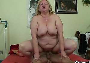Big titted granny and house-servant