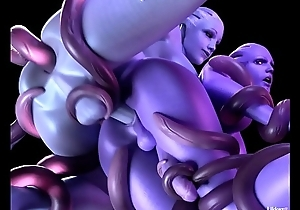 Mass Effect Liara and Aria getting fucked by tentacles
