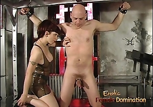 Bald stud enjoys mammal gratified overwrought a busty redhead in the dungeon