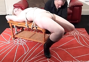 Sexy damsel in distress Amber West in bondage and submissive blonde tied